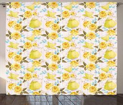 Kitchen Curtains Tea Time Cups Flowers Window Drapes 2 Panel