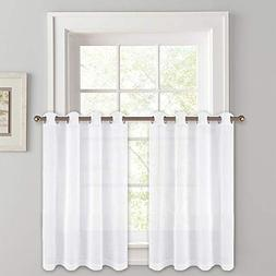 "PONY DANCE Kitchen Curtains 36"" - Sheers Linen Look Voile Dr"