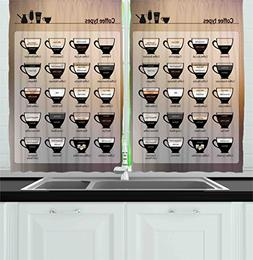 Ambesonne Kitchen Decor Collection, Cups of Coffee Types of