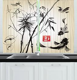 Ambesonne Kitchen Decor Collection, Japanese Traditional Art