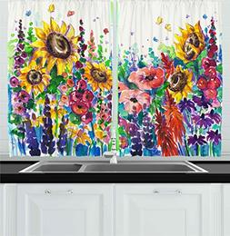 Ambesonne Kitchen Decor Collection, Floral Watercolor Style