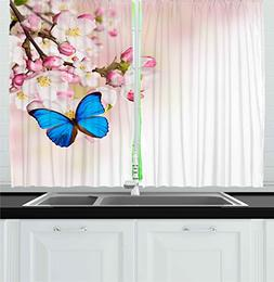 Ambesonne Kitchen Decor Collection, Blue Butterfly on spring