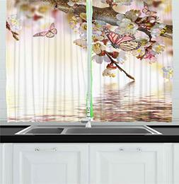 Ambesonne Kitchen Decor Collection, Natural Floral Japanese