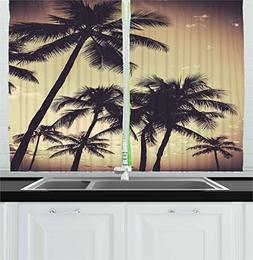 Ambesonne Kitchen Decor Collection, Tropical Palm Trees Hawa