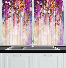 Ambesonne Kitchen Decor Collection, Floral Country Style Wat