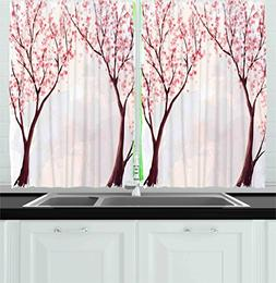 Ambesonne Kitchen Decor Collection, Japanese Floral Design S