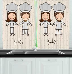 Ambesonne Kitchen Decor Collection, Chef Hat and Uniform Kit