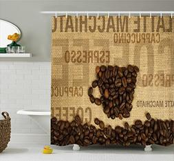 Ambesonne Kitchen Decor Shower Curtain, Coffee Beans Shaped