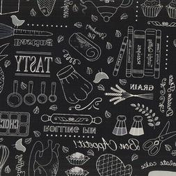 Kitchen Fabric, By The Yard, Cooking Words and Things, BTY,