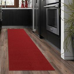 kitchen runner rug solid red
