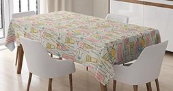 Kitchen Tablecloth by Ambesonne, Decoration for Kitchen Ice