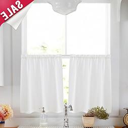Kitchen Tier Curtains 24 inch White Semi Sheer Cafe Curtains