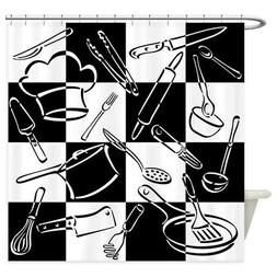CafePress Kitchen Tools Checkerboard Shower Curtain