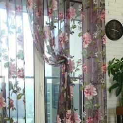 Kitchen Tulle Sheer Curtains Window Treatments Peony Flowers