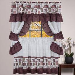 Kitchen Window Curtain Cottage 5 Piece Set Embroidered Caber