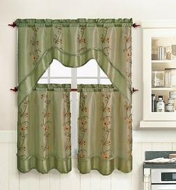 3 Piece Kitchen Window Curtain Treatment Set: 2 Layer, Embro