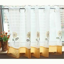 Kitchen Window Curtain Treatment Sheer Voile Valance Swag Ti