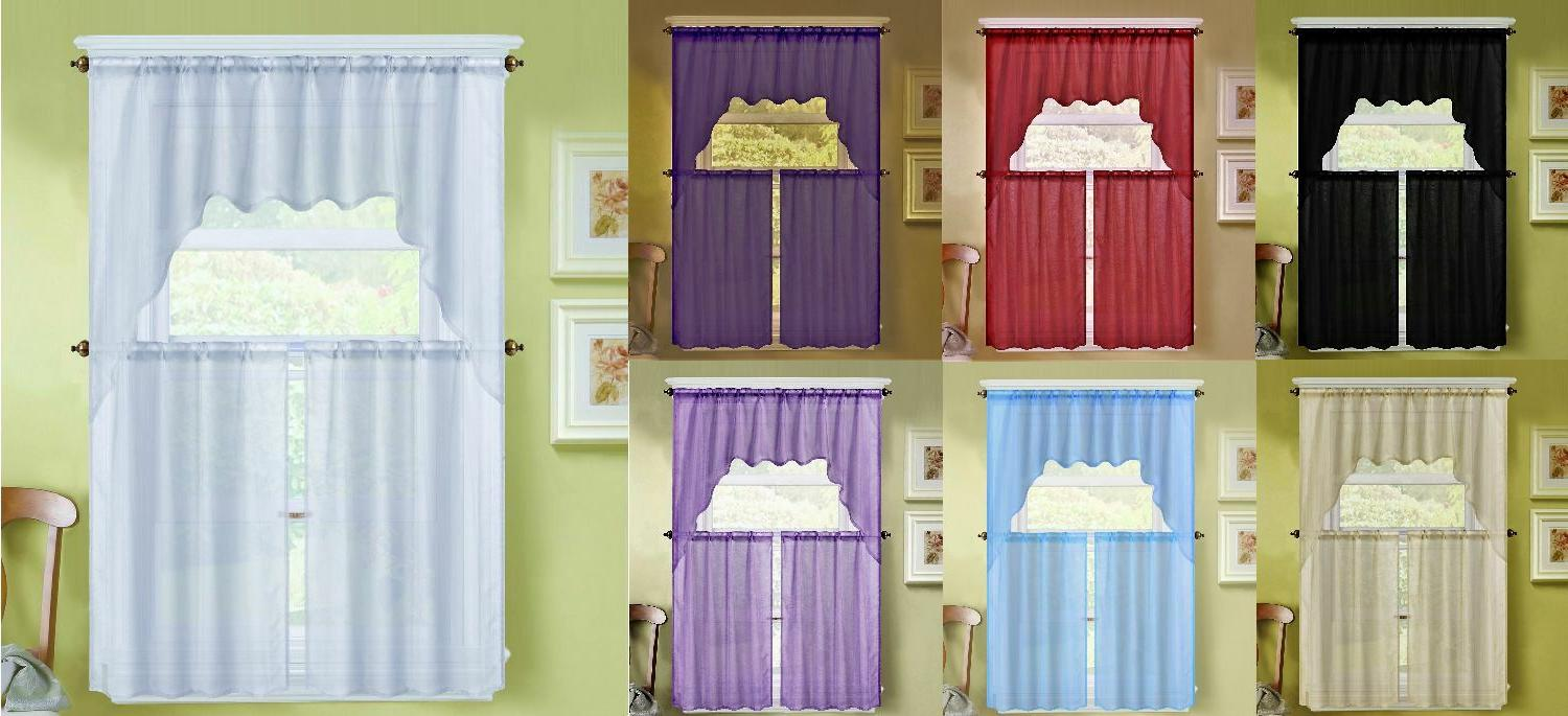 3PC  SOLID VOILE SHEER KITCHEN WINDOW CURTAIN 2 TIERS + 1 SW