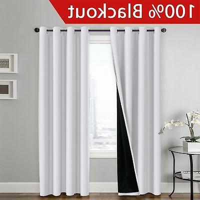 100 percent blackout curtain set thermal insulated