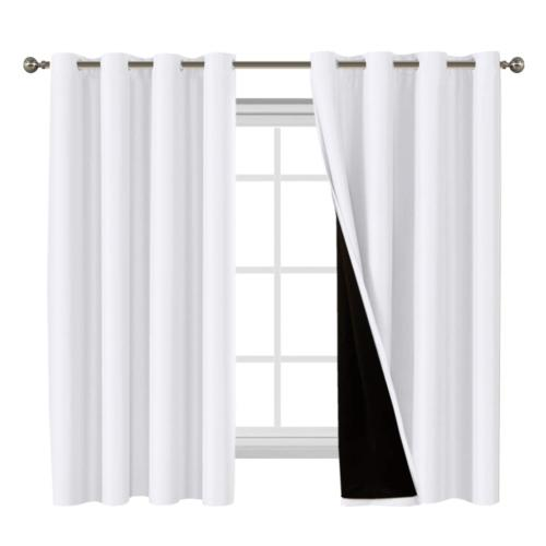Flamingo P 100% Blackout White Curtains for Bedroom Thermal