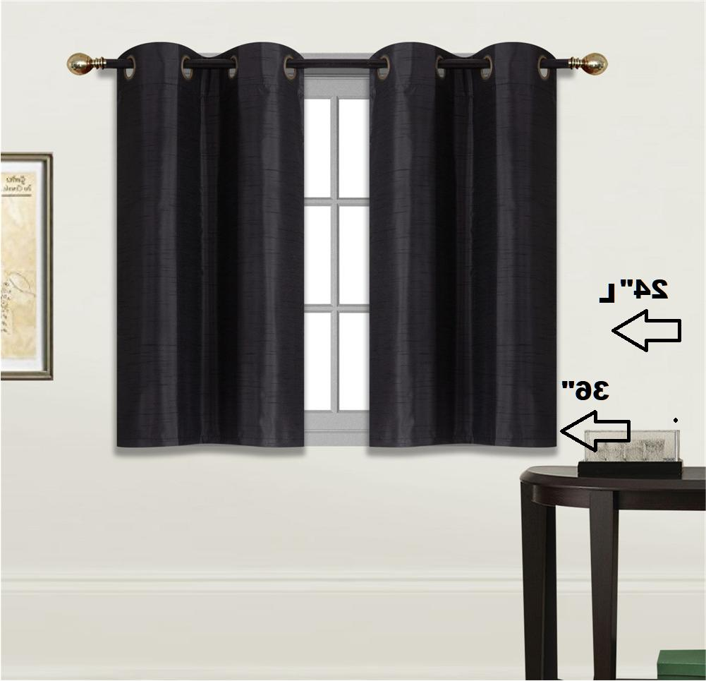 2 SOLID SHORT GROMMET PANELS WINDOW CURTAINS FOR ANY ROOM 24