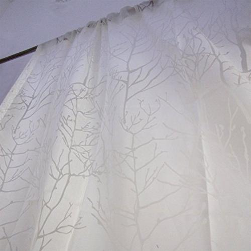 tree white sheer curtains voile