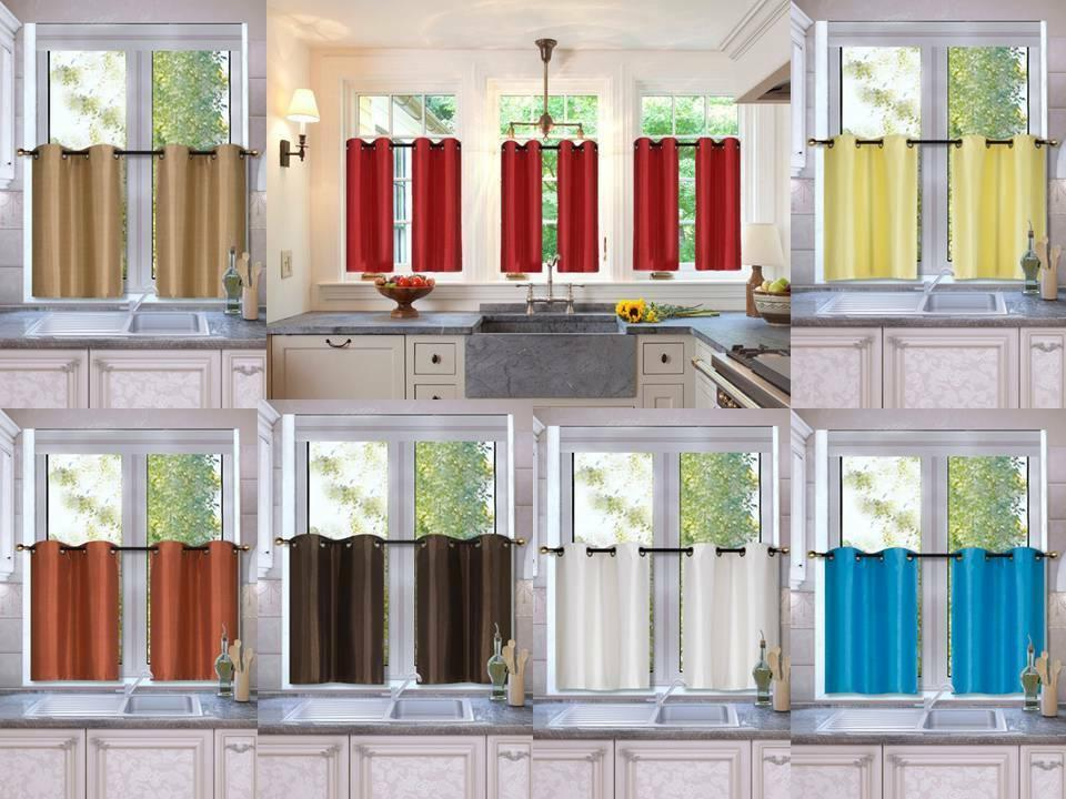 2 piece set blackout kitchen curtain window