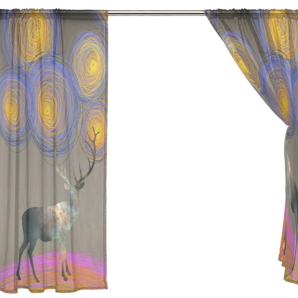 2 Pieces with Gagh Night Design <font><b>Kitchen</b></font> Sheer