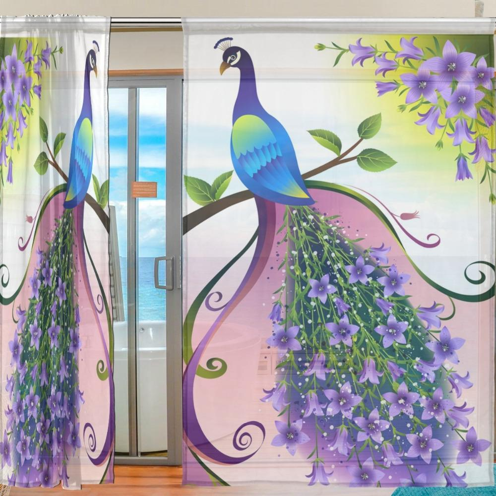 2 Pieces Printed Animal Window Polyester <font><b>Curtains</b></font> for the Room