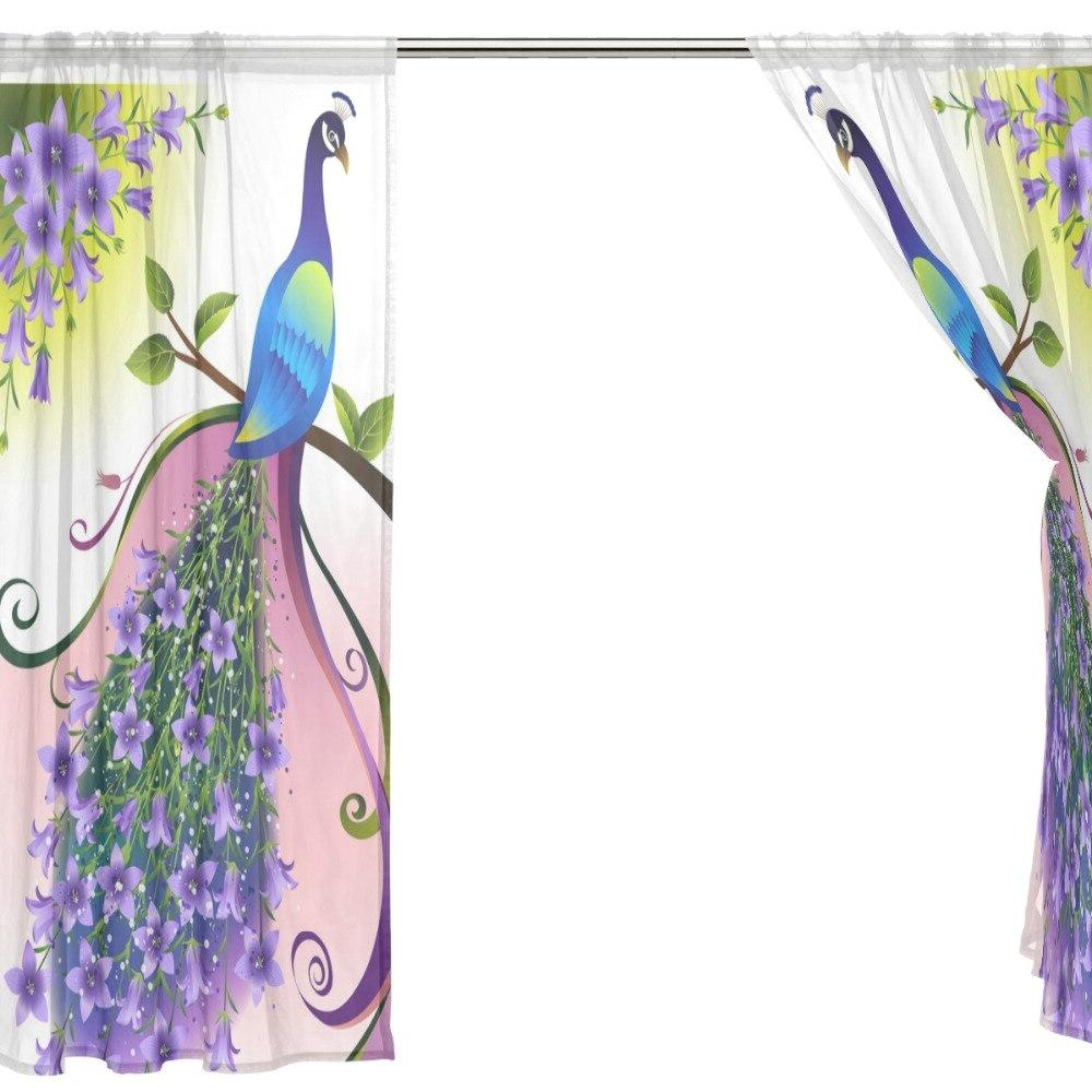 2 Pieces Printed Child Window Polyester for Living Room