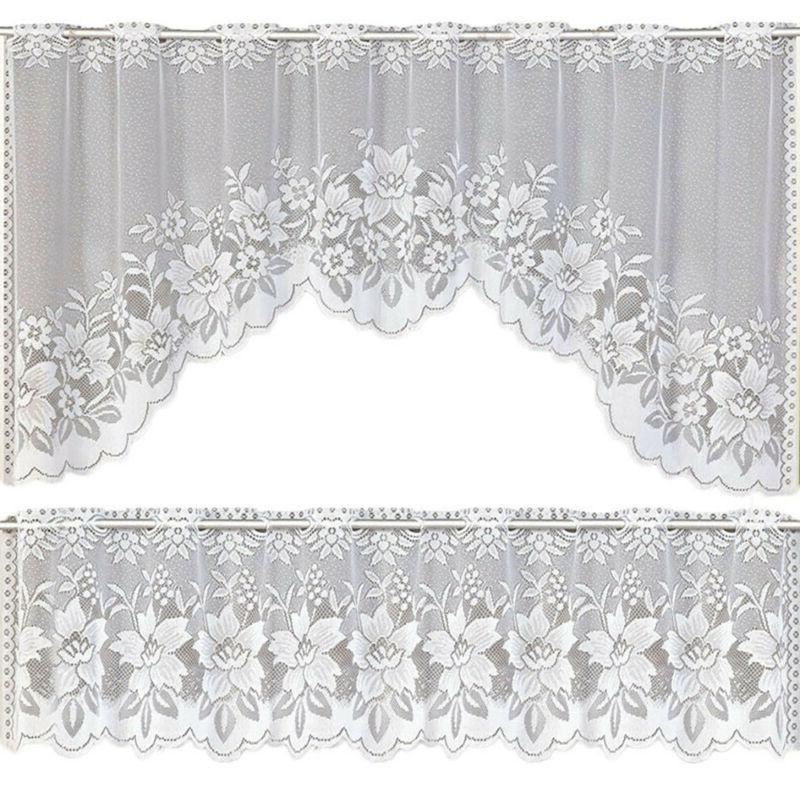 2pcs Kitchen Curtain Tier Valance Swag White