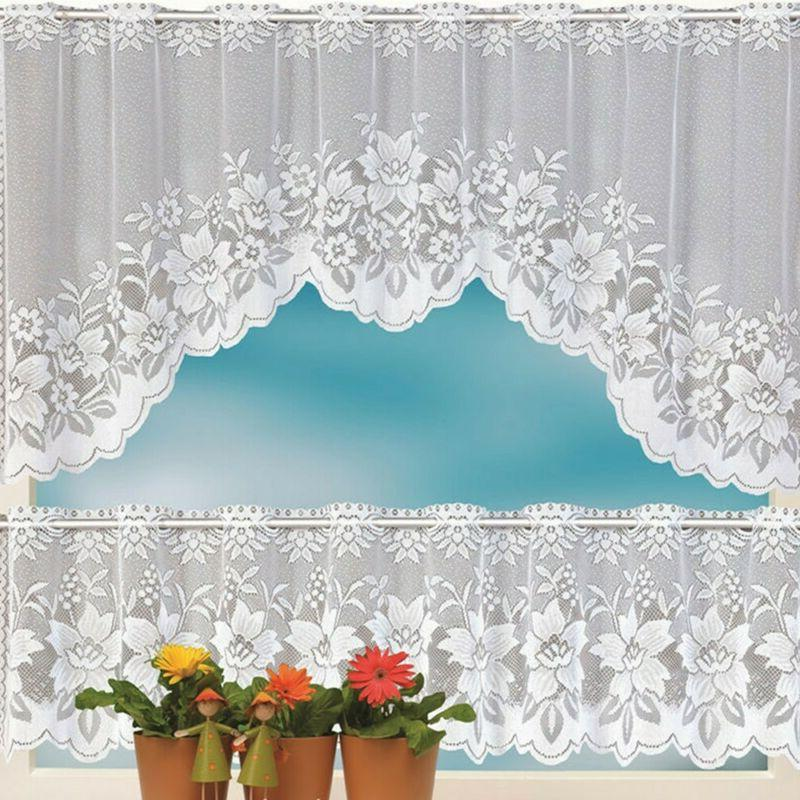 2pcs Floral Lace Semi-Sheer Kitchen Curtain Choice Tier Vala