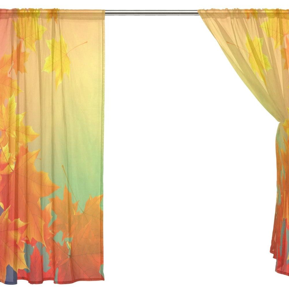 2Pcs Natural Bedroom Red Maple Sheer <font><b>Curtains</b></font> Room Treatments <font><b>Curtains</b></font>