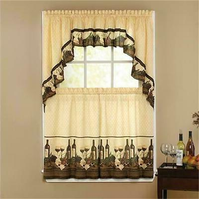 3 PC Vino SAGE Kitchen Curtains Tier and Ruffled Valance Set