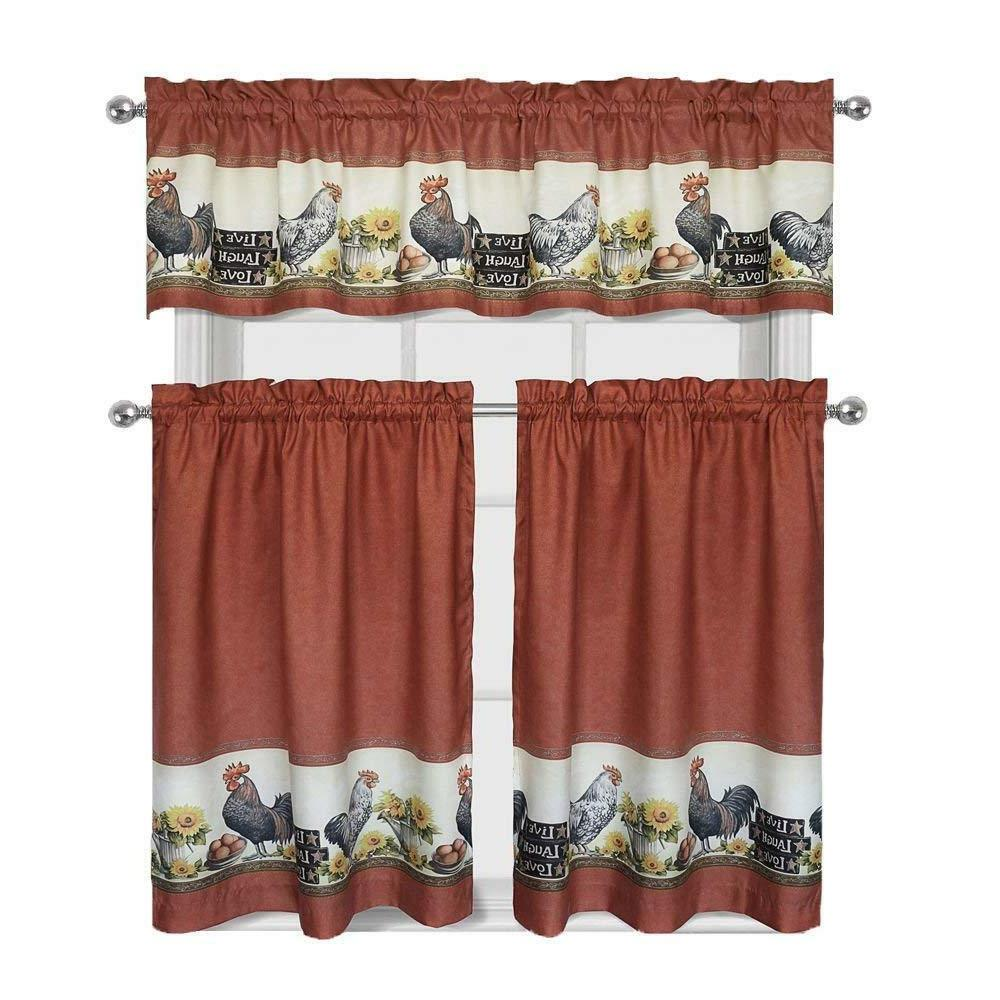 3 Piece Rooster Window Treatment Kitchen Curtain Panel Tier