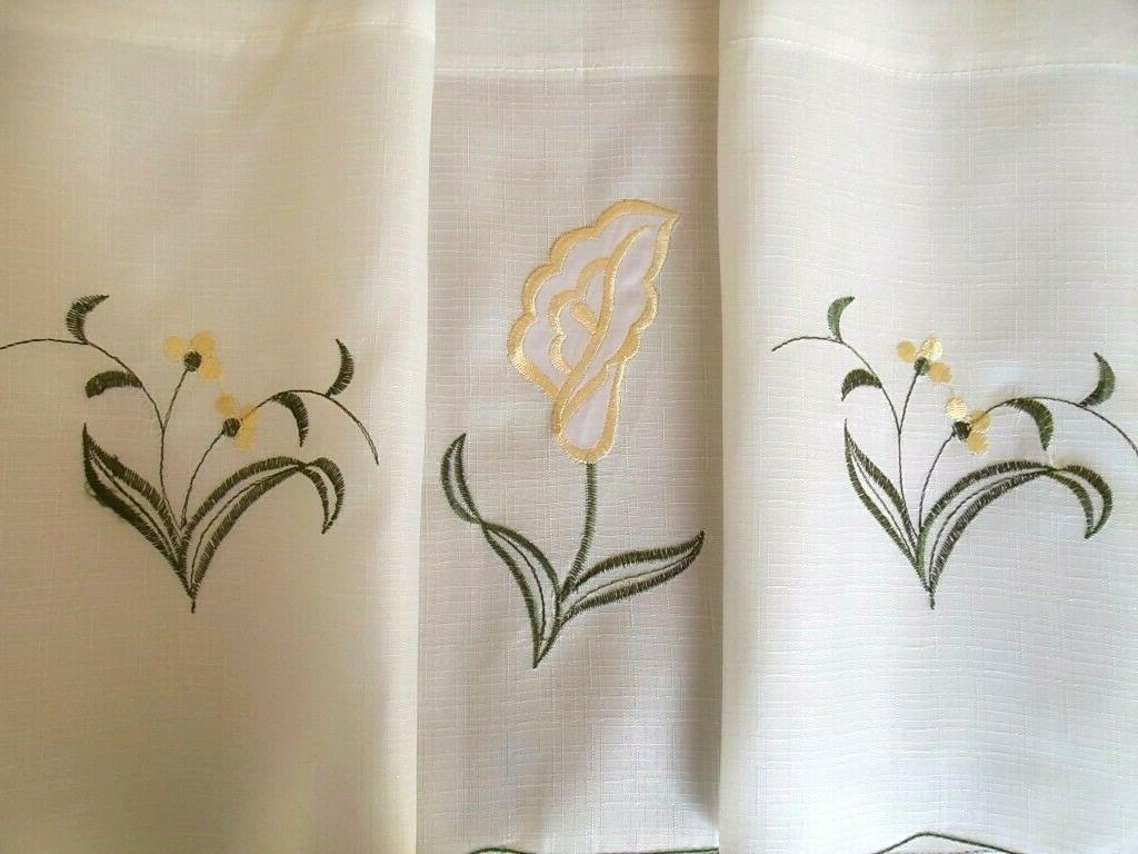 3-Pc Beige Calla Lily Flower Kitchen Window Curtain Set Drapes & Swag