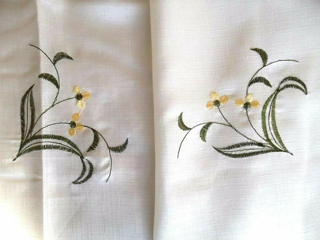 3-Pc Beige Flower Kitchen Window Curtain Set Drapes Cafe & Swag