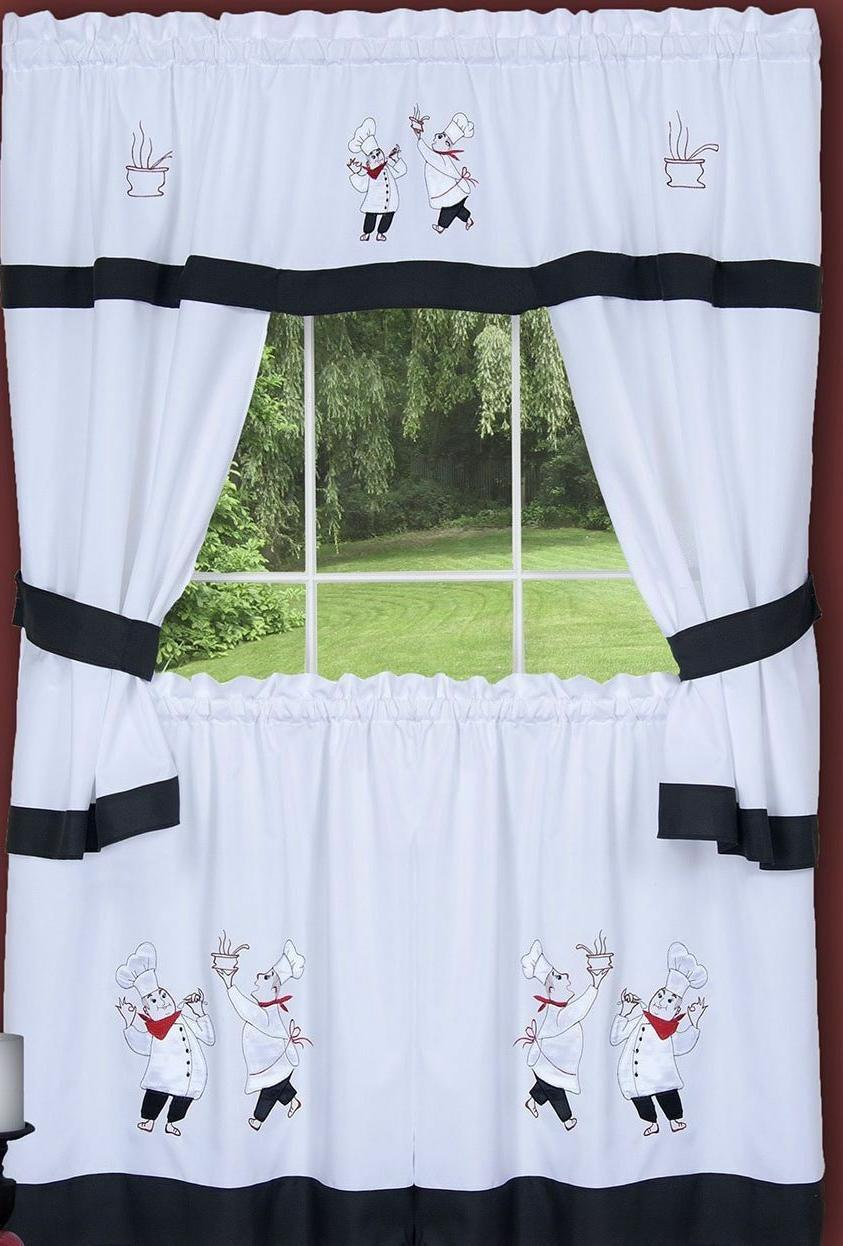 3 pc embellished cottage curtains 2 tiers
