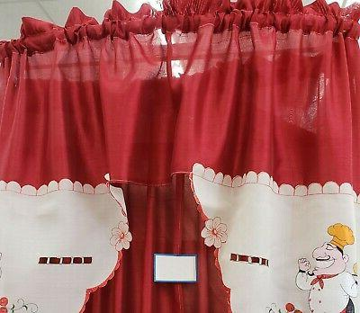 3 Embroidery Curtains Set: 2 Tiers Swag , FAT W/ CHICKEN
