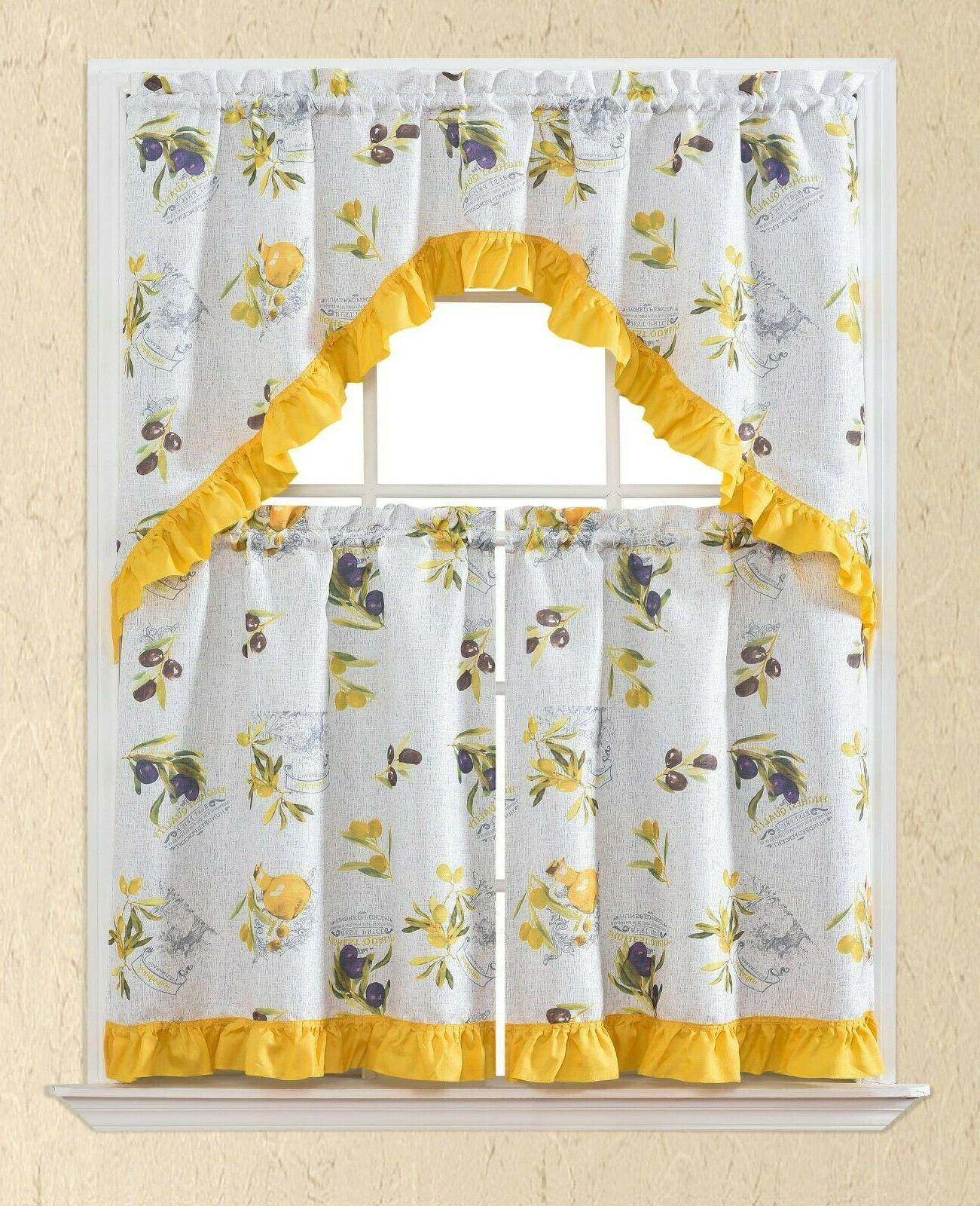 3 PC Kitchen Curtain Swag Rooster Printed Panels