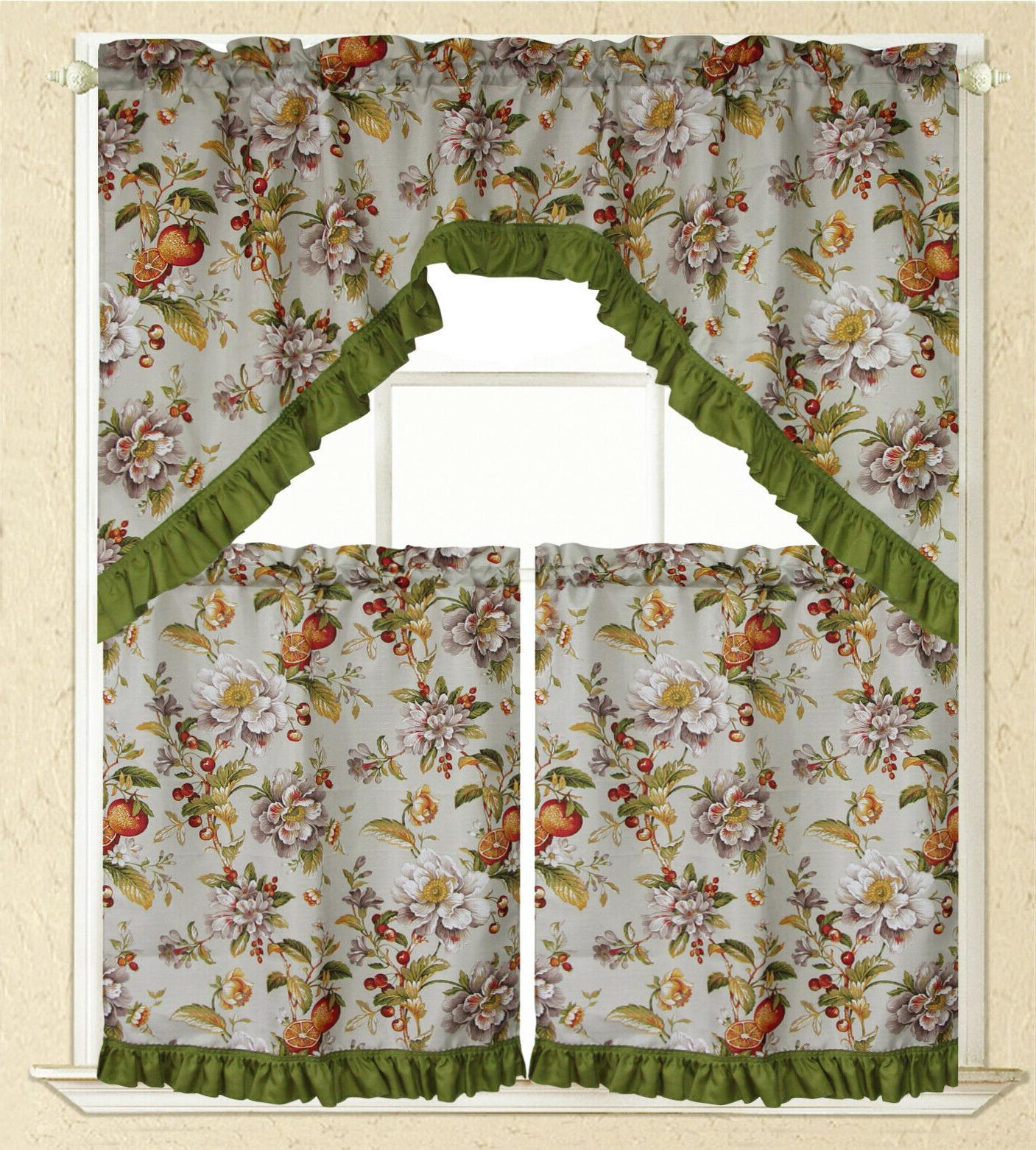 3 PC Curtain Swag Floral Rooster Printed Design Panels