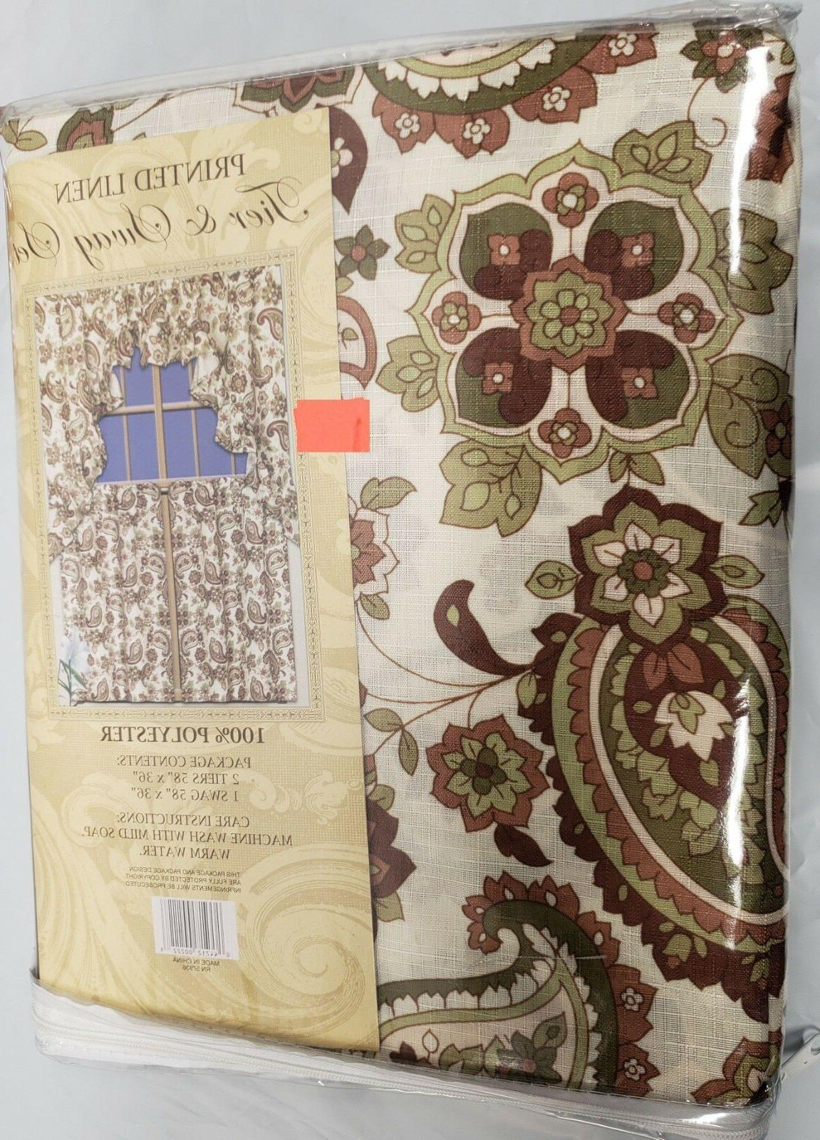 3 pc Curtains SET: Tiers Swag FLOWERS