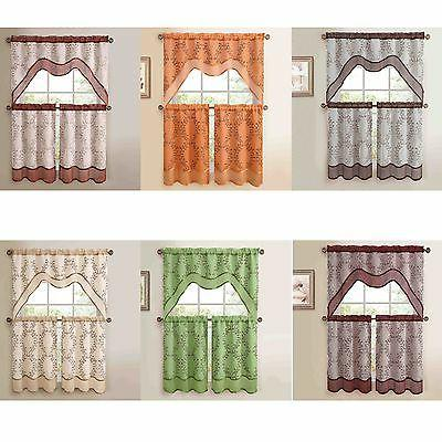 3-Pc Kitchen Window Curtain Set: Two-Layer Sheer, Vine Embro