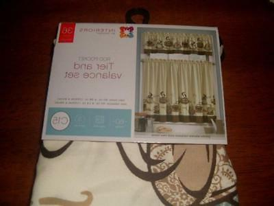 3 Expresso COFFEE Kitchen Curtains & Beans