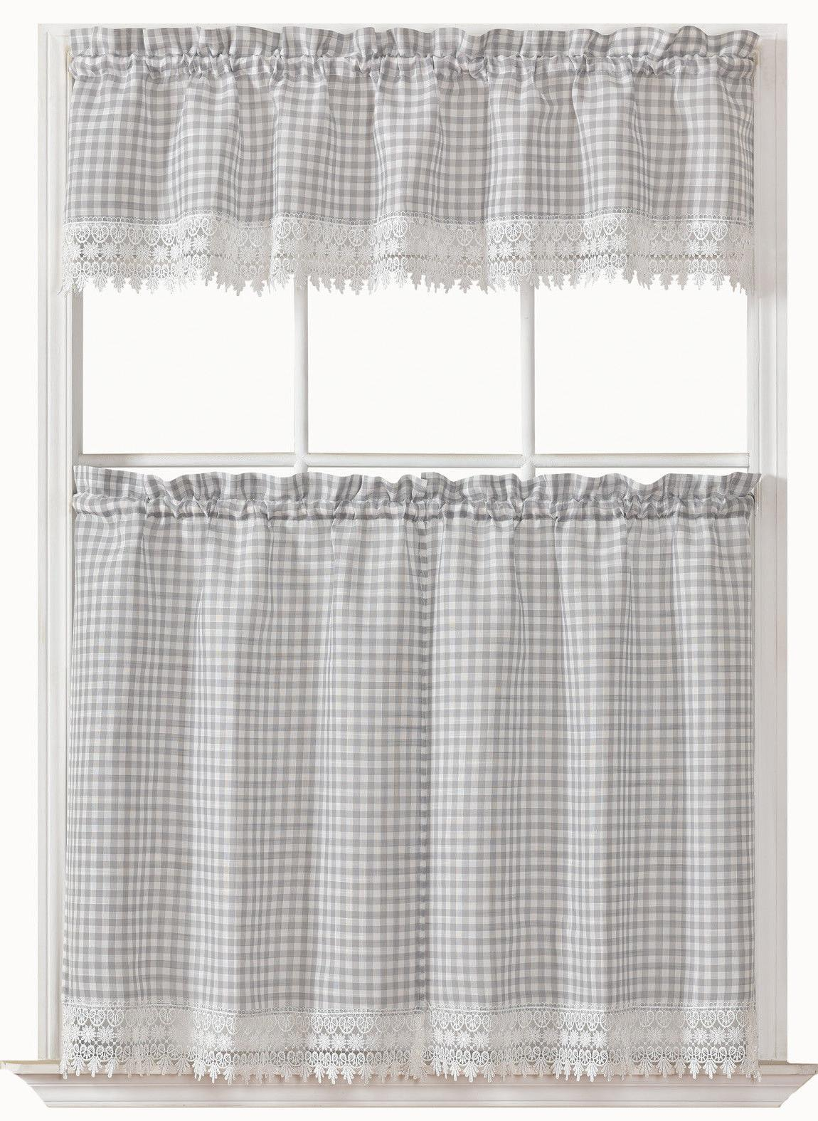 3 pc plaid and macrame kitchen curtain
