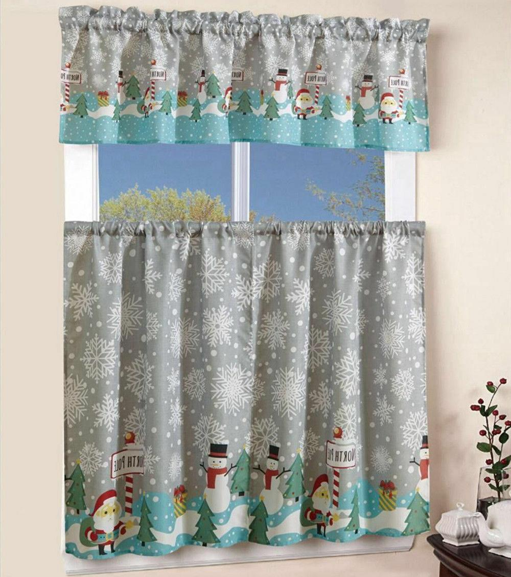 3 pcs christmas kitchen curtain with swag