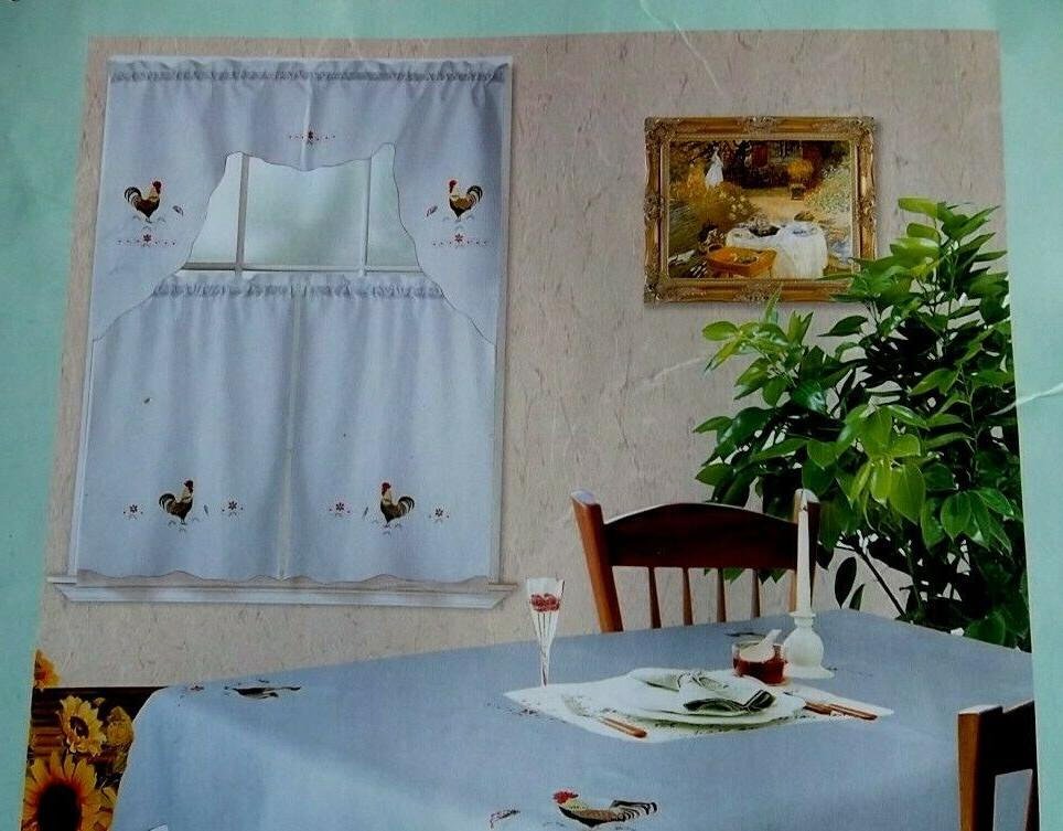 3-piece Beige Kitchen Window Drapes Cafe Swag