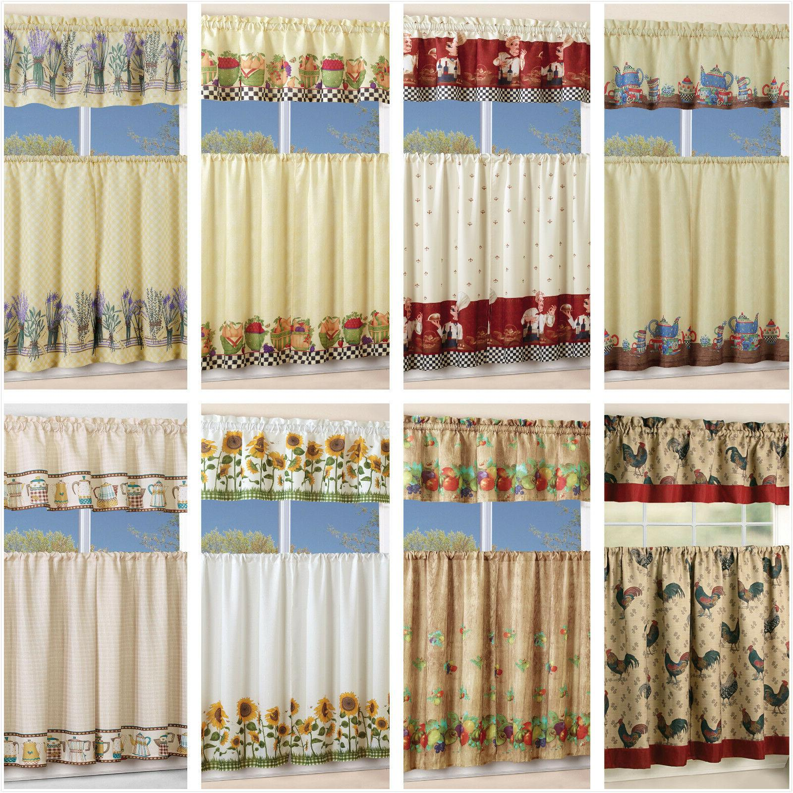 3 piece floral kitchen curtain with swag