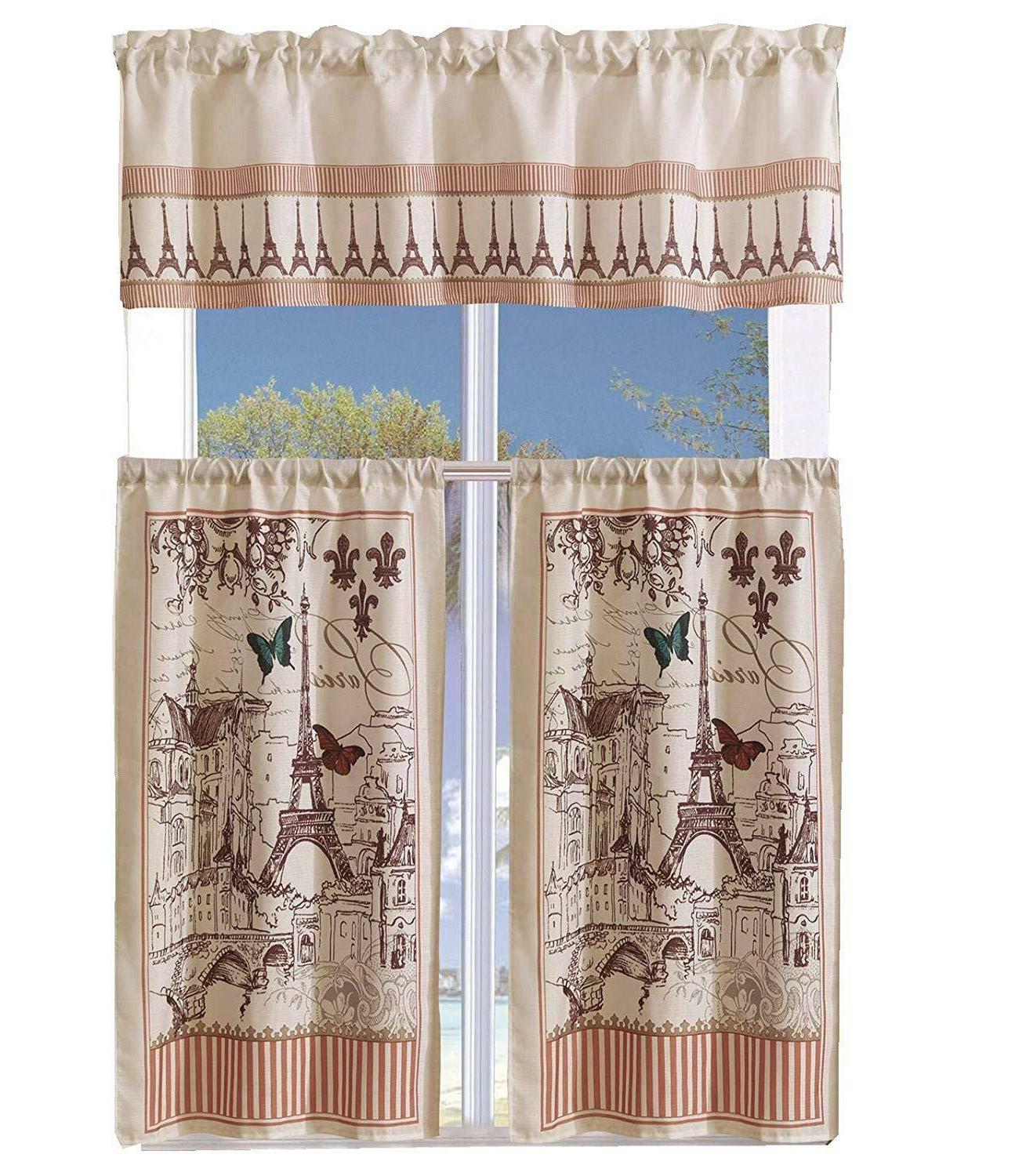 3 Piece With Window Curtain Set