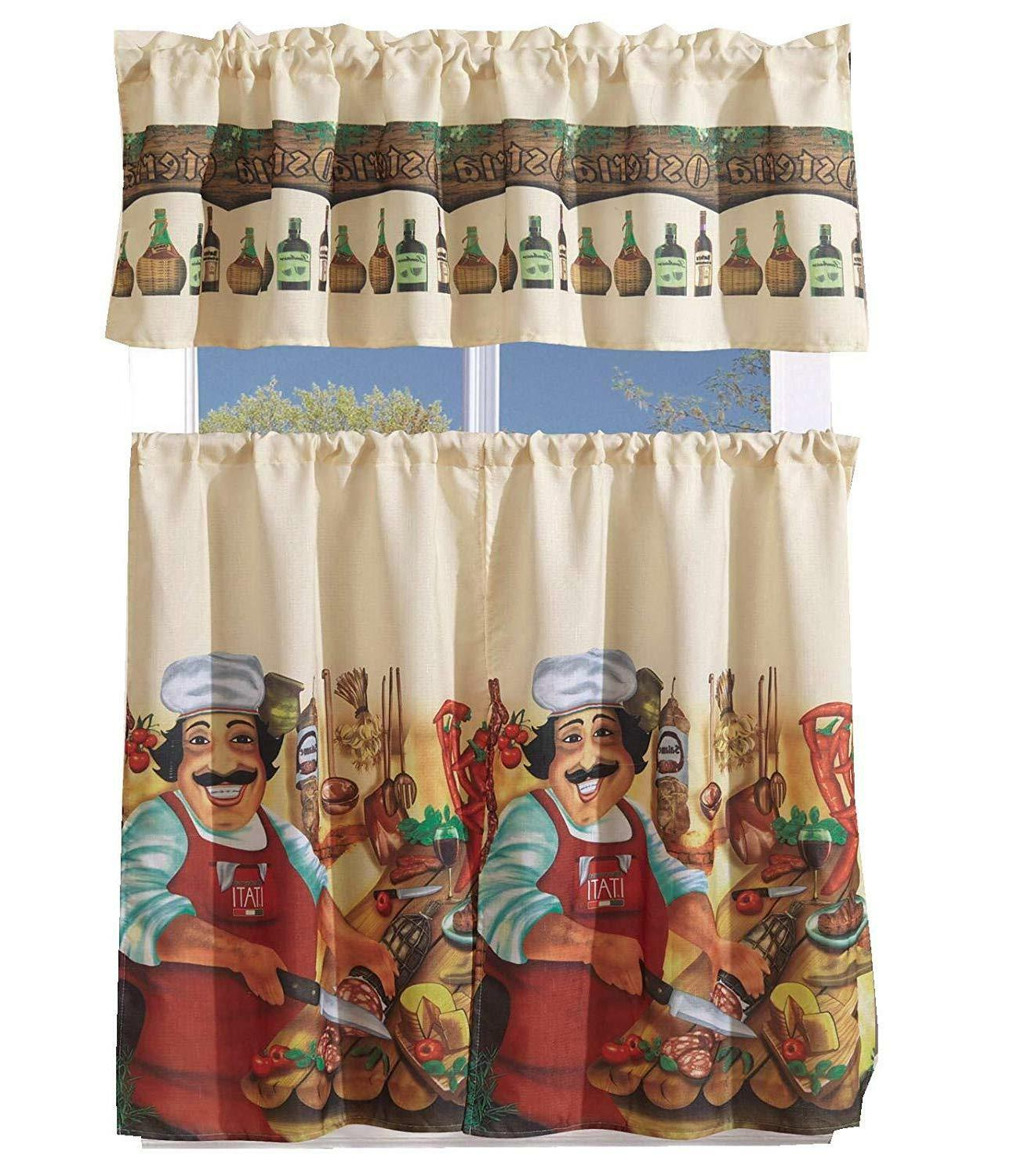 3 Piece Kitchen/Cafe Curtain With Swag and Window Curtain Set